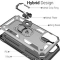 Silver iPhone 11 Pro Shock Proof 360 Rotating Metal Circle Stand Case - 3