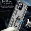Silver iPhone 11 Pro Shock Proof 360 Rotating Metal Circle Stand Case - 4