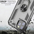Silver iPhone 11 Pro Shock Proof 360 Rotating Metal Circle Stand Case - 6