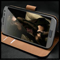 Black Genuine Leather Wallet Stand Case For Samsung Galaxy S4 Mini - 2