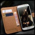 Black Genuine Leather Wallet Stand Case For Samsung Galaxy S4 Mini - 1