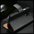 Black Genuine Leather Wallet Stand Case For Samsung Galaxy S4 Mini - 3