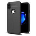 Black Ultra Slim Carbon Fibre Leather Texture Case For iPhone XR - 1