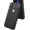 Black Ultra Slim Carbon Fibre Leather Texture Case For iPhone XR - 3