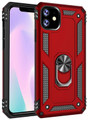 Red iPhone 11 Pro Slim Armor 360 Rotating Metal Circle Stand Case - 1