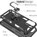Black iPhone 11 Pro Shock Proof 360 Rotating Metal Circle Stand Case - 3