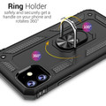 Black iPhone 11 Pro Shock Proof 360 Rotating Metal Circle Stand Case - 6