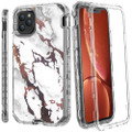 White and Gold Marble 3 in 1 Heavy Duty Armor Case For iPhone 11