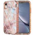 iPhone XR Geometric Gold Marble Heavy Duty Defender Case - 1