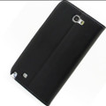 Black Genuine Leather Business Wallet Case for Samsung Galaxy Note 2 - 4