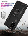 Black Galaxy A71 Slim Shock Proof 360 Rotating Metal Ring Stand Case - 3