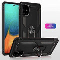 Black Galaxy A71 Slim Shock Proof 360 Rotating Metal Ring Stand Case - 5