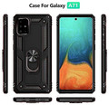 Black Galaxy A71 Slim Shock Proof 360 Rotating Metal Ring Stand Case - 6