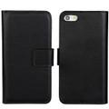 Black Genuine Leather Wallet Case for Apple iPhone SE 1st Gen (2016) - 2