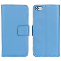 Light Blue iPhone SE 1st Gen (2016) Genuine Leather Wallet Case - 1
