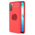 Red Oppo A91 Tough Slim Armor Shock Proof Metal Ring Stand Case - 4