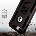 Black 360 Rotating Metal Ring Slim Armor Stand Case for iPhone SE 2020 - 4