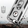 Silver iPhone SE 2020 Shock Proof 360 Rotating Metal Ring Stand Case - 5