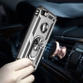 Silver iPhone SE 2020 Shock Proof 360 Rotating Metal Ring Stand Case - 6