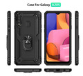 Black Shock Proof 360 Rotating Metal Ring Stand Case For Galaxy A20s  - 3