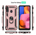 Rose Gold Galaxy A20s Hybrid  Shock Proof Rotating Metal Ring Case - 2