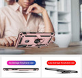 Rose Gold Galaxy A20s Hybrid  Shock Proof Rotating Metal Ring Case - 6