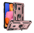 Rose Gold Galaxy A20s Hybrid  Shock Proof Rotating Metal Ring Case - 1