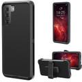 Black Galaxy S21+ Plus Heavy Duty Belt-Clip Holster Shock Proof Case - 1