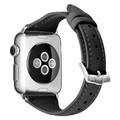 Black Apple Watch 42mm/ 44mm Small Slim Wrist Genuine Leather Band Strap - 3