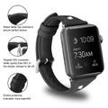 Black Apple Watch 42mm/ 44mm Small Slim Wrist Genuine Leather Band Strap - 4