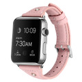 Pink Small Slim Wrist Genuine Leather Band For Apple Watch 42mm/ 44mm - 1