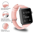 Pink Small Slim Wrist Genuine Leather Band For Apple Watch 42mm/ 44mm - 2