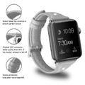 Grey Slim Wrist Genuine Leather Band For Apple Watch 42mm/ 44mm Series 1/2/3/4/5/6/SE - 5