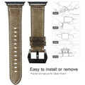 Tarmac Vintage Retro Genuine Leather Band For Apple Watch 42mm/44mm Series 1/2/3/4/5/6/SE - 4