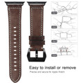 Brown Apple Watch 42mm/44mm Vintage Retro Genuine Leather Band For Series 1/2/3/4/5/6/SE - 7