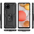 Black Galaxy A42 5G Shock Proof 360 Rotating Metal Ring Stand Case - 6