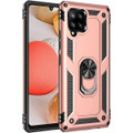 Rose Gold Galaxy A42 5G Slim Armor 360 Rotating Metal Ring Stand Case - 3