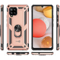 Rose Gold Galaxy A42 5G Slim Armor 360 Rotating Metal Ring Stand Case - 5