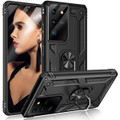 Black Shock Proof 360 Rotating Metal Ring Stand Case For Galaxy S21 Ultra - 1
