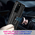 Black Shock Proof 360 Rotating Metal Ring Stand Case For Galaxy S21 Ultra - 2