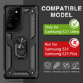 Black Shock Proof 360 Rotating Metal Ring Stand Case For Galaxy S21 Ultra - 3