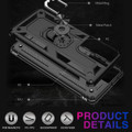 Black Shock Proof 360 Rotating Metal Ring Stand Case For Galaxy S21 Ultra - 5