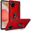 Red Galaxy A42 5G 360 Rotating Metal Ring Shock Proof Kickstand Case - 1