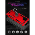 Red Galaxy A42 5G 360 Rotating Metal Ring Shock Proof Kickstand Case - 4