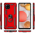 Red Galaxy A42 5G 360 Rotating Metal Ring Shock Proof Kickstand Case - 7