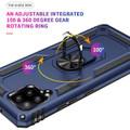 Navy Galaxy A42 5G Shock Proof 360 Rotating Metal Ring Kickstand Case - 3