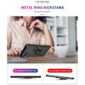 Black Galaxy A12 Slim Armor 360 Rotating Metal Ring Kickstand Case - 5