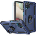 Navy Galaxy A12 Shock Proof 360 Rotating Metal Ring Stand Case Cover - 1