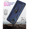 Navy Galaxy A12 Shock Proof 360 Rotating Metal Ring Stand Case Cover - 3