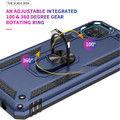 Navy Galaxy A12 Shock Proof 360 Rotating Metal Ring Stand Case Cover - 6